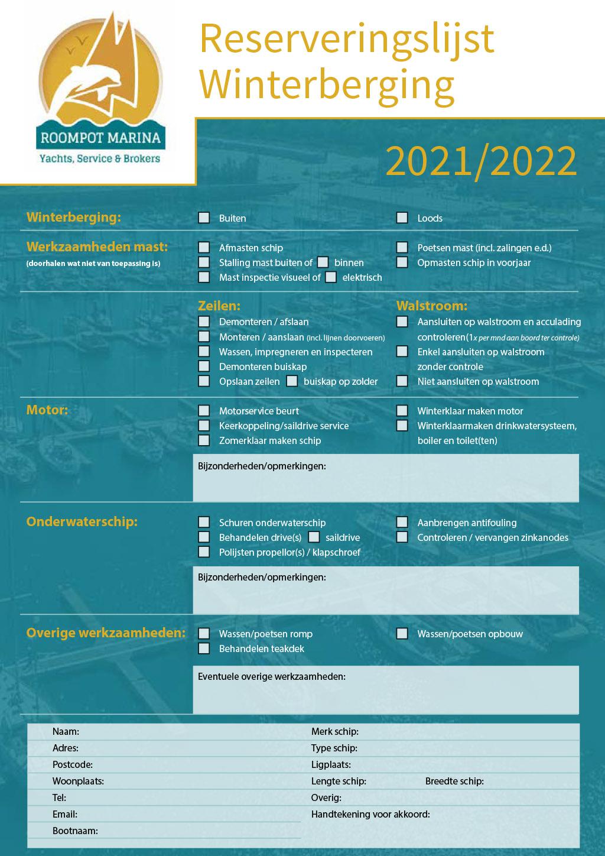 Roompot Marina Reserveringslijst Winterberging 2021